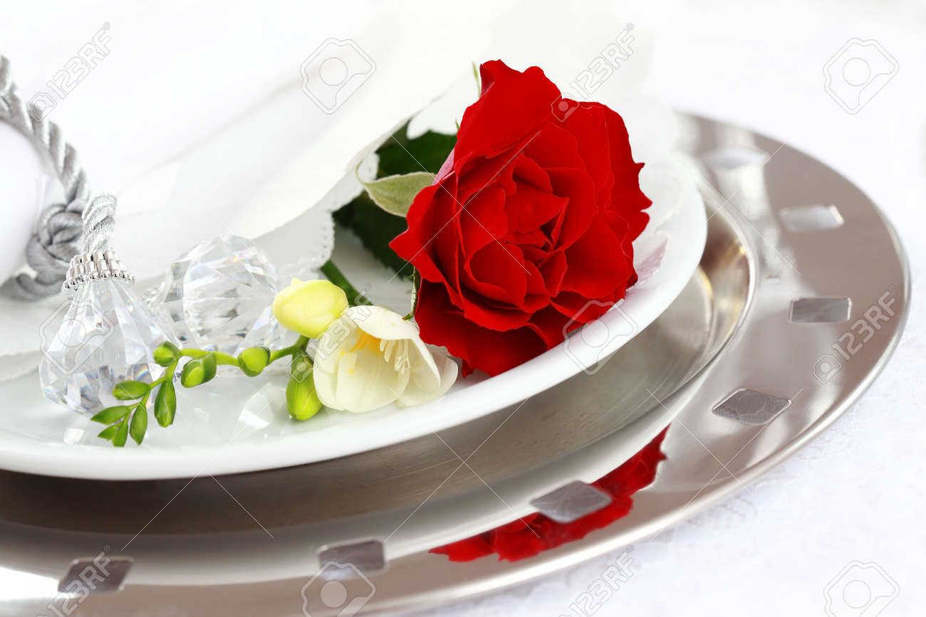 Festive table setting for wedding, Valentine or other event Stock Photo - 8644138