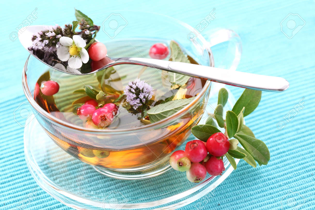 Vitality tea with lingonberry and cranberry and mint (vitality berry) Stock Photo - 8894692