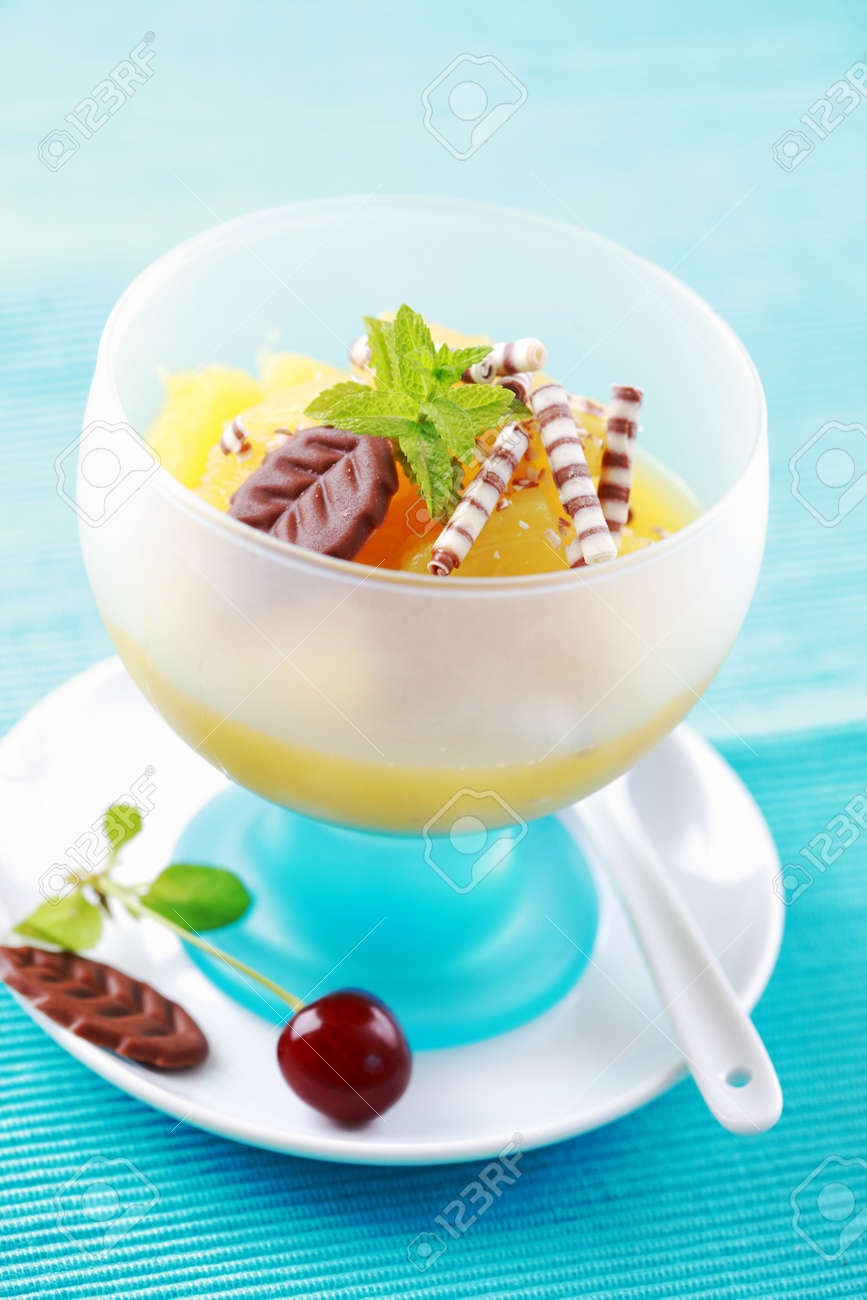 Pineapple dessert with chocolate and mint Stock Photo - 9655620
