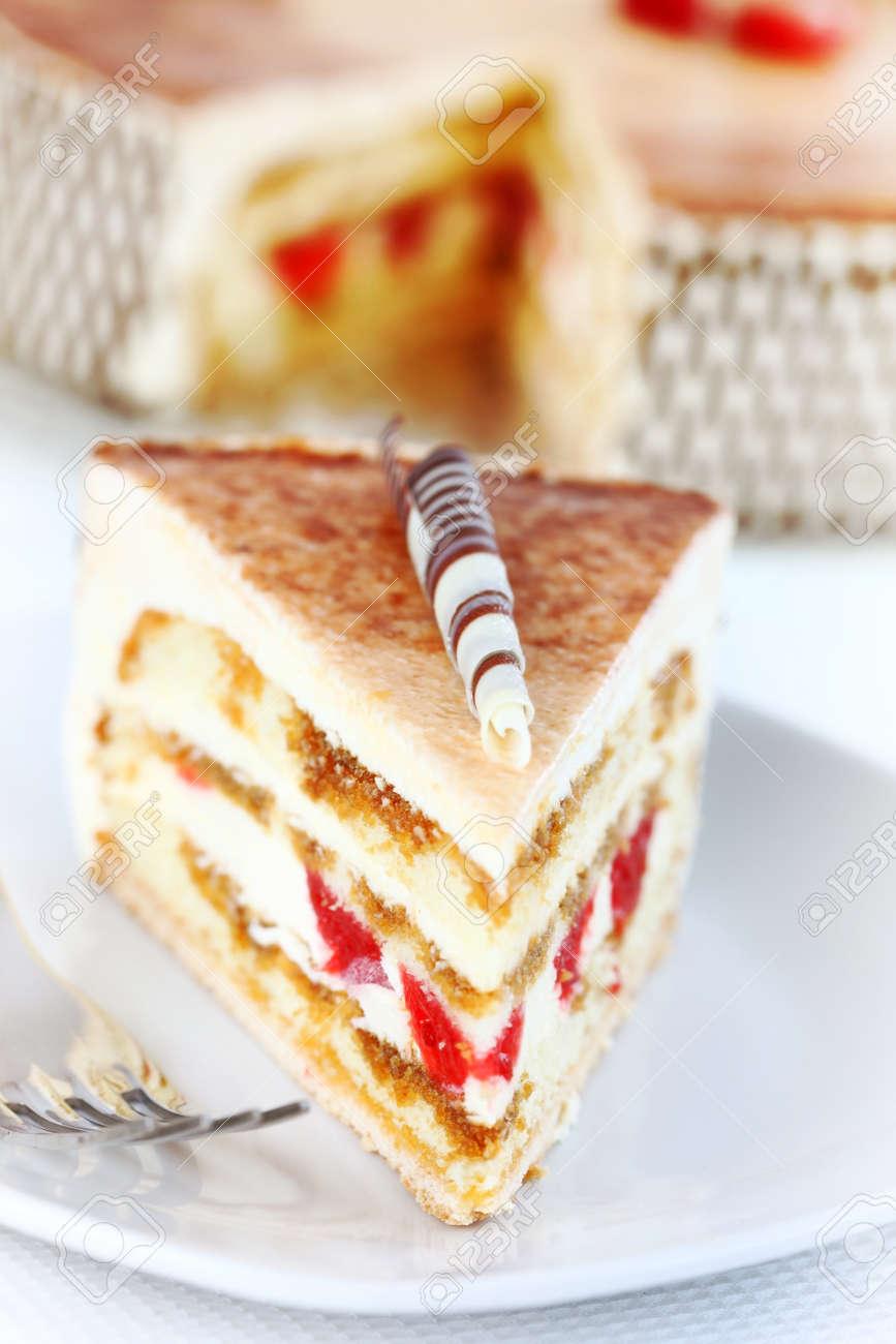 Delicious Tiramisu Birthday Cake With Cherries Stock Photo Picture