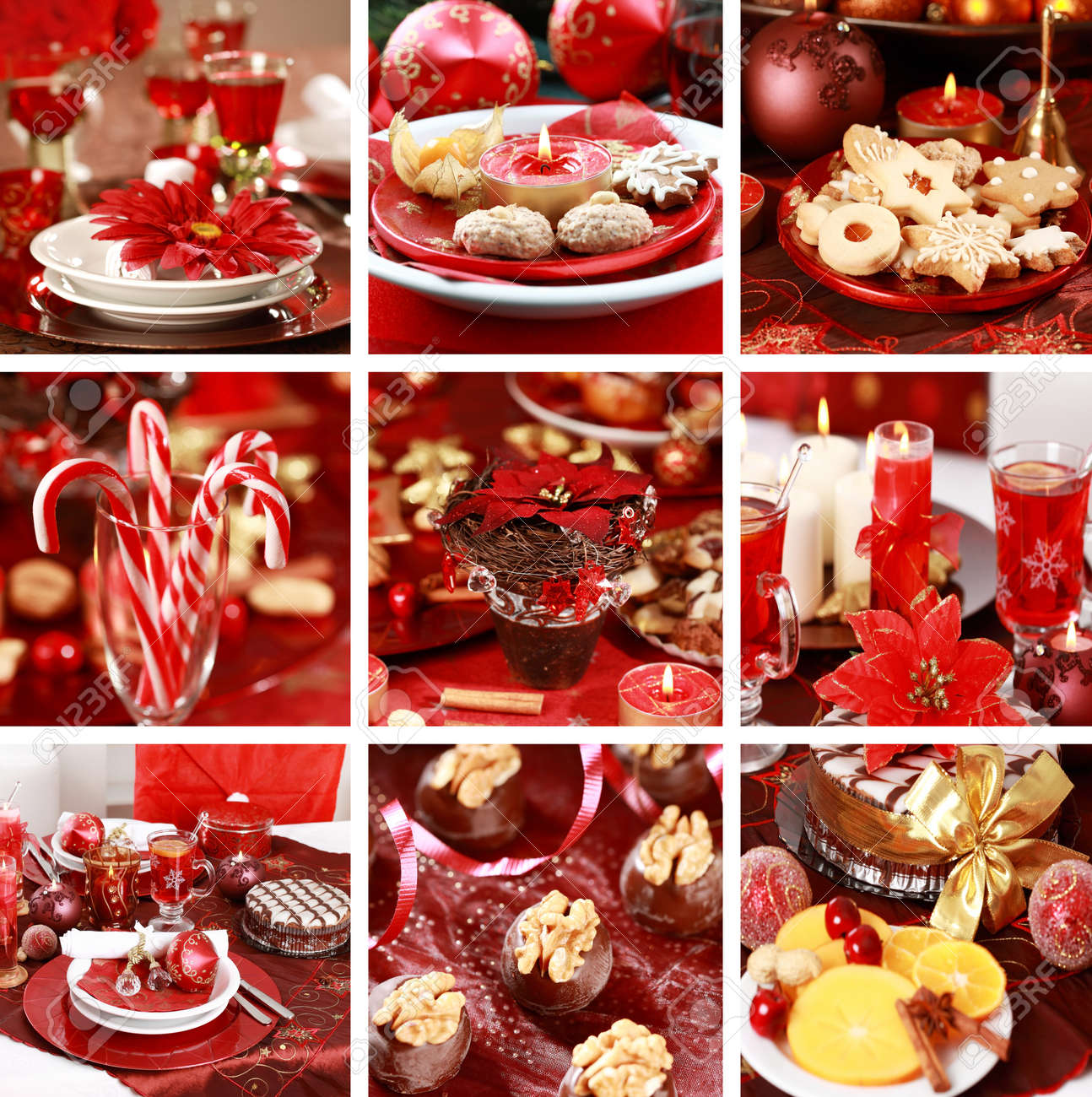 Collection of nine still live photos for Christmas in red Stock Photo - 10347717