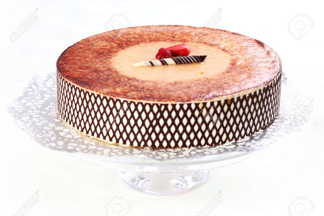 Terrific Delicious Tiramisu Birthday Cake With Cherries Stock Photo Funny Birthday Cards Online Necthendildamsfinfo