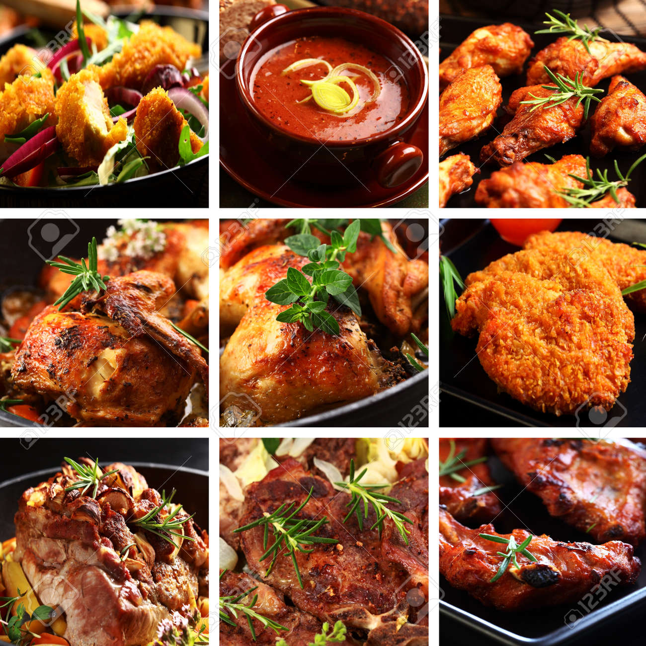 Collection of different meat dishes - soup, schnitzel, BBQ, chicken wings - 11110105