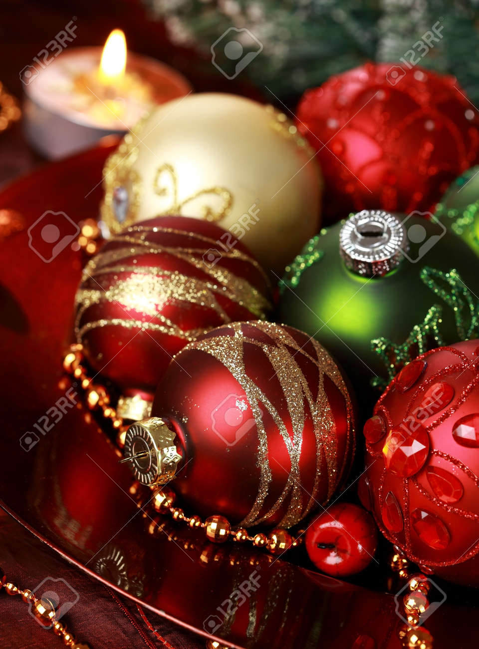 Beautiful Christmas Ornaments beautiful christmas ornaments as table decoration stock photo