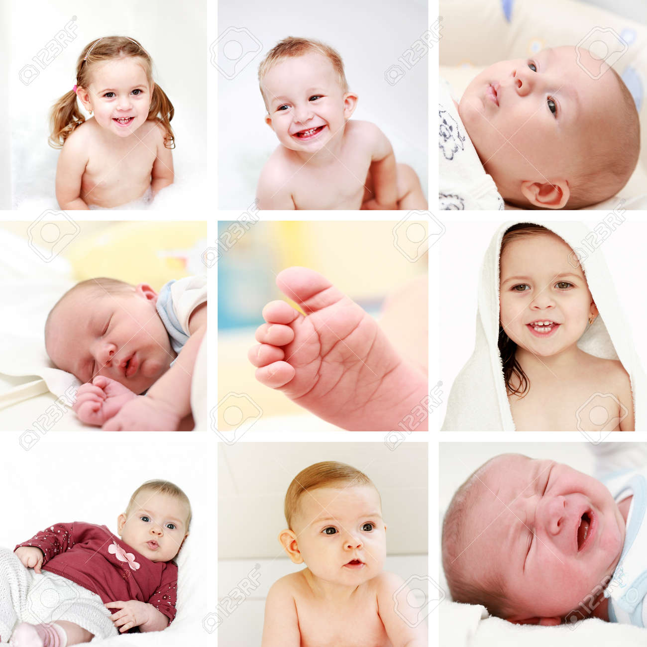 Collage of different photos of babies and kids stock photo 13108294
