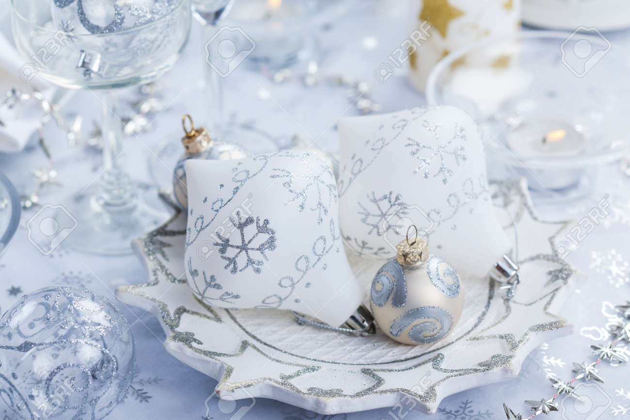 Silver and white christmas table decorations - Christmas Decoration In Silver And White For Festive Table Stock Photo 16047787