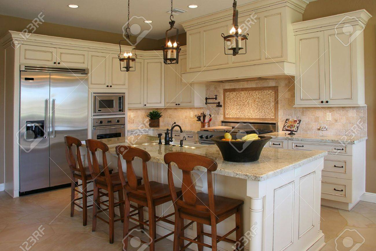 Luxury Kitchen A Newly Remodeled Modern Luxury Kitchen Horizontal Stock Photo