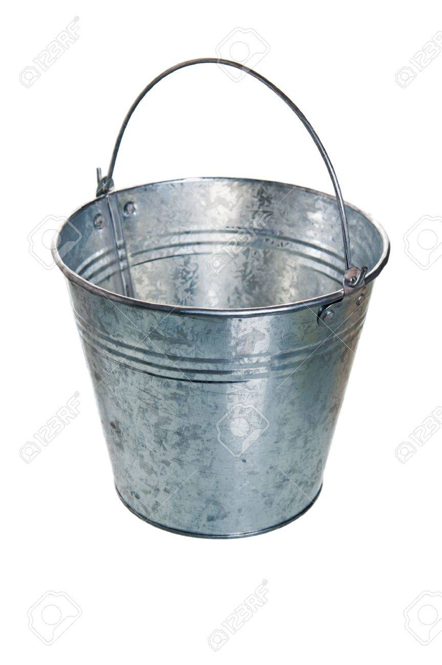 The empty zinced bucket a close up is isolated on white Stock Photo - 8348310