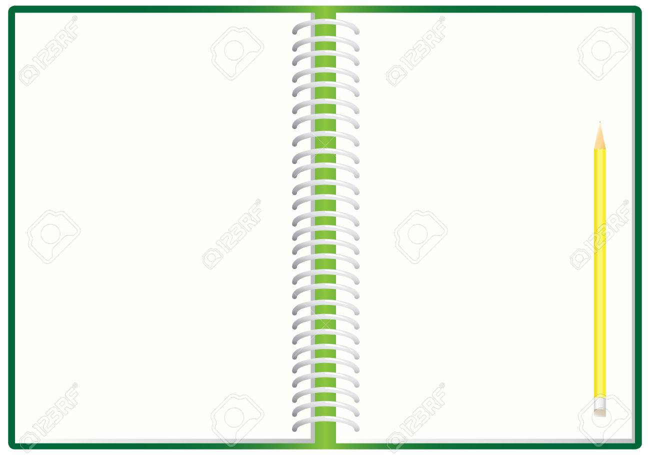 The open spiral notebook and pencil, illustration Stock Vector - 8733065