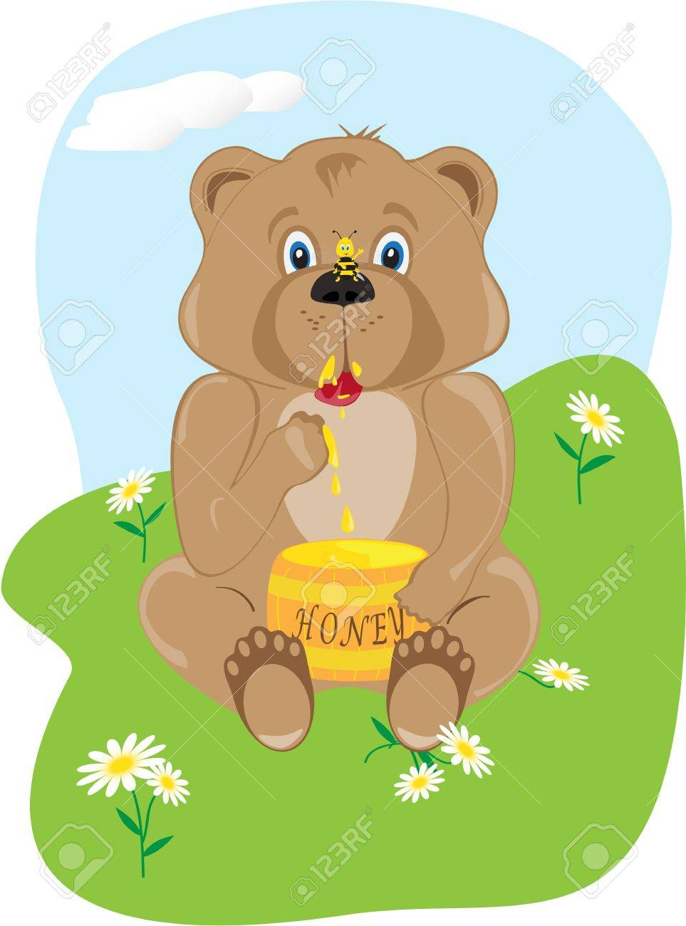 The bear cub eats honey from a keg Stock Vector - 9055812