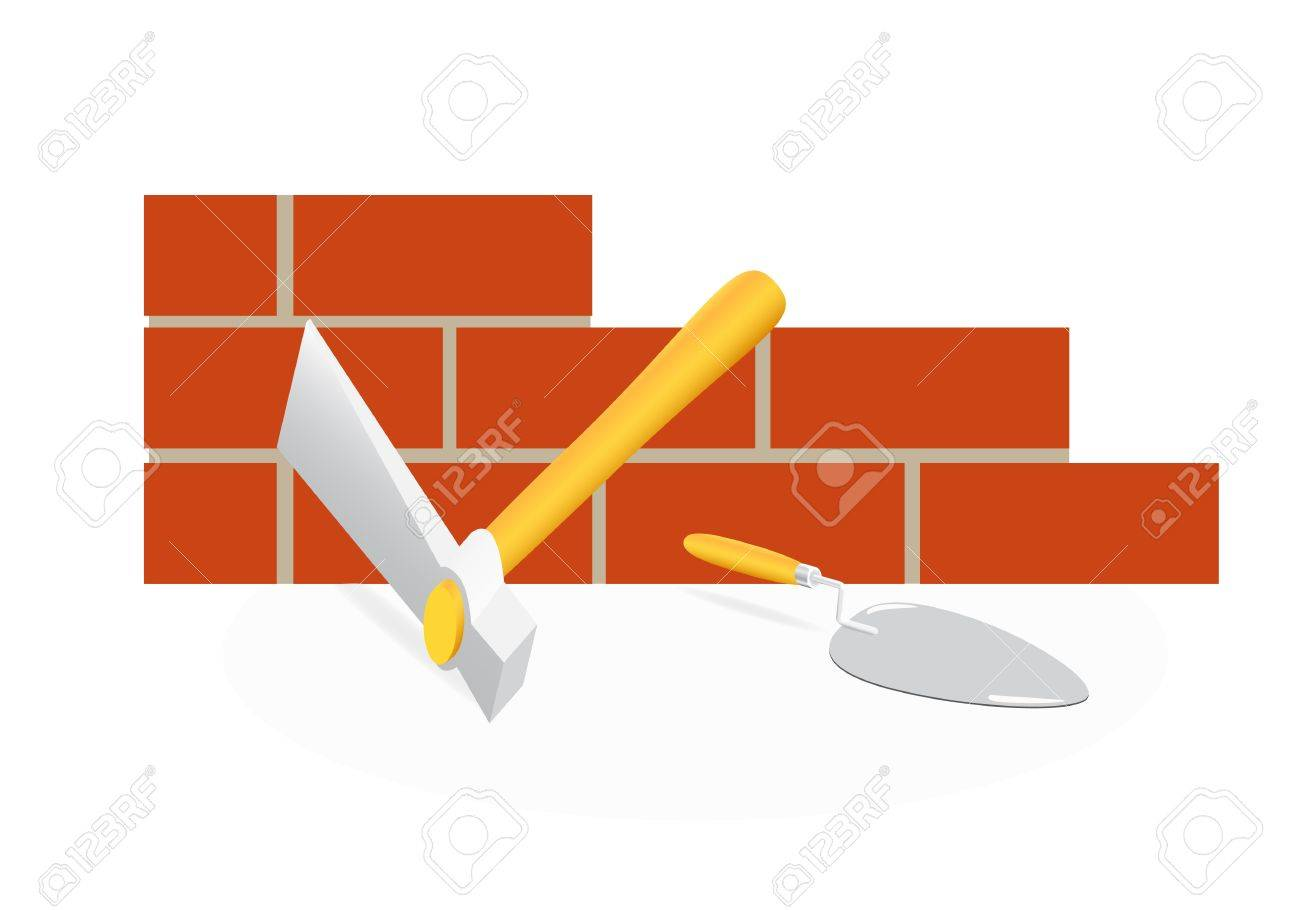 The tool of the mason. A hammer and trowel Stock Vector - 9138864