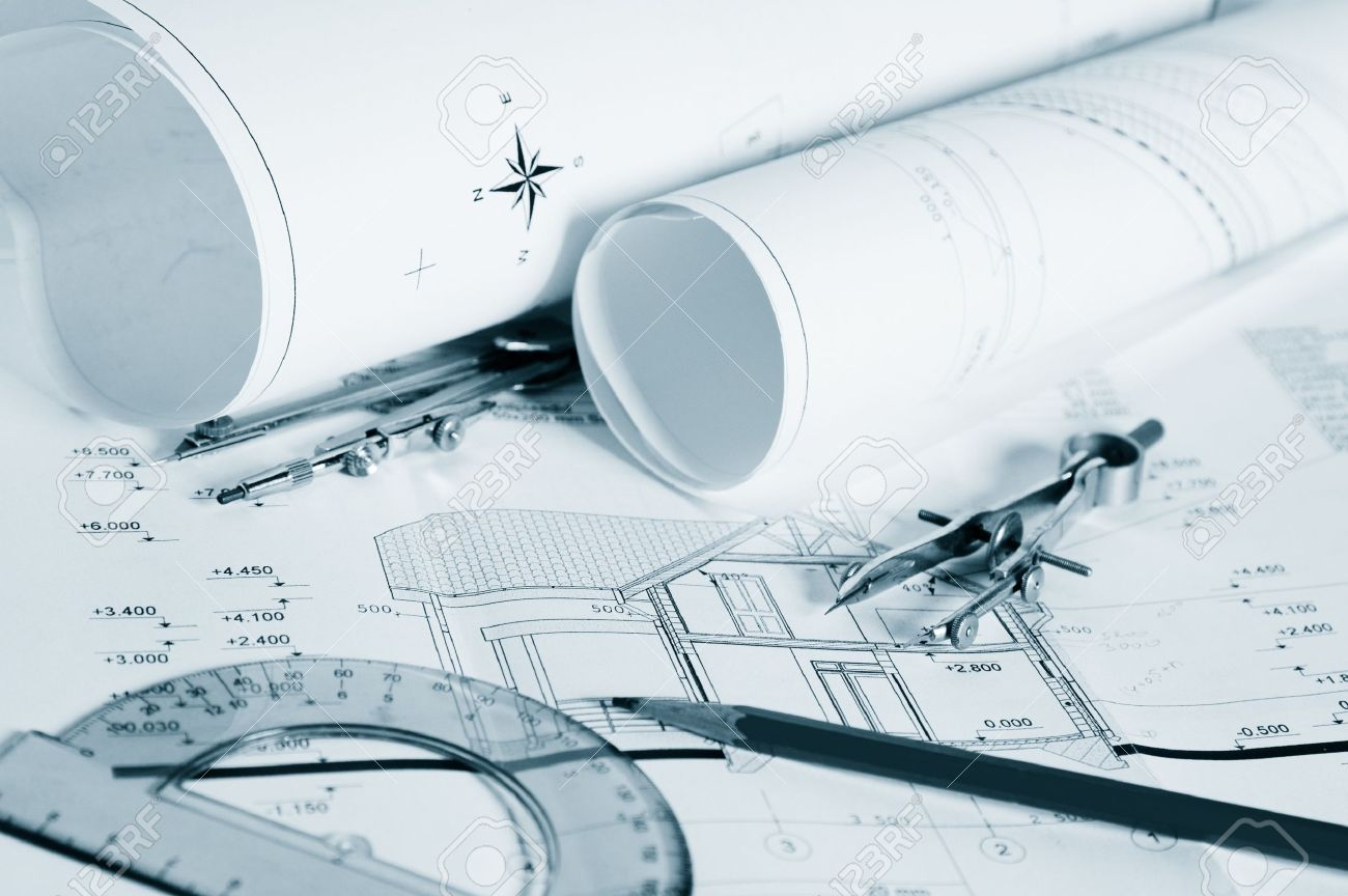 Blueprints - professional architectural drawings Stock Photo - 12632009