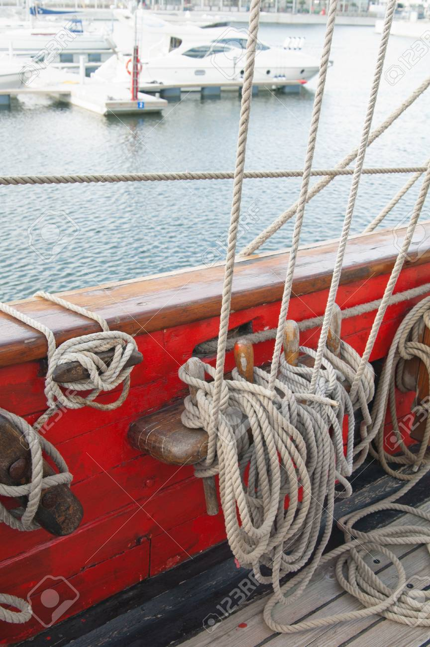 Rigging of an ancient sailing vessel Stock Photo - 13856359