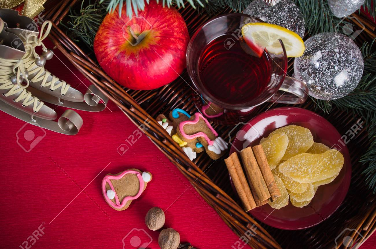 Hot wine punch for winter and Christmas with spices, cookies and decoration Stock Photo - 16656581