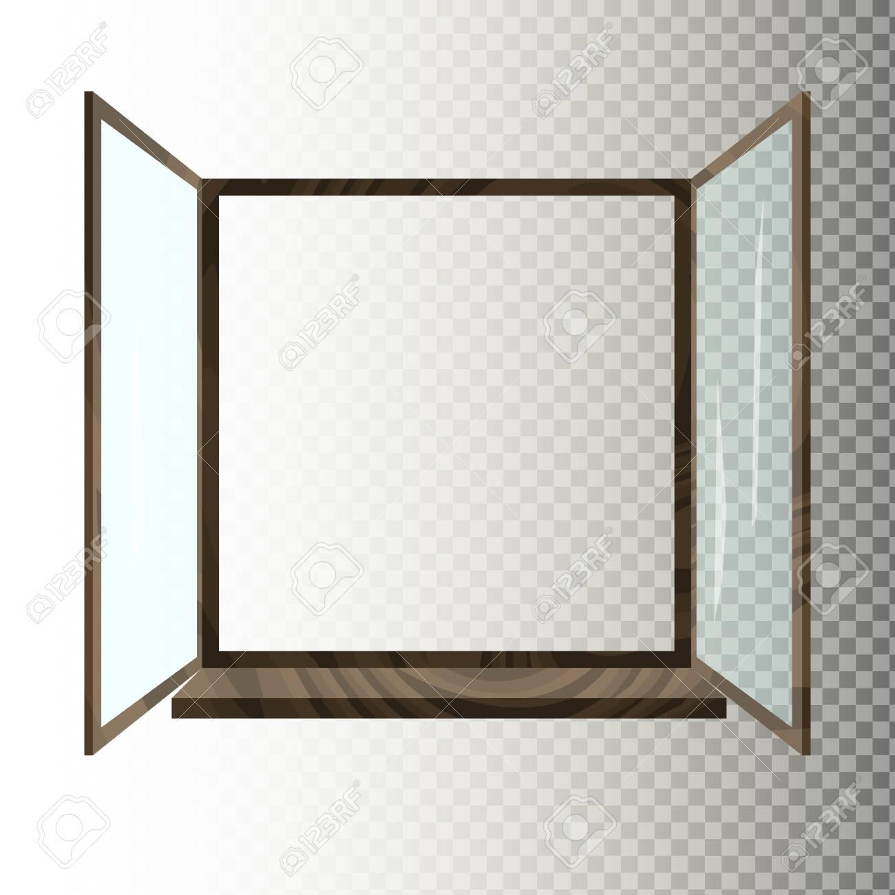 白/透明背景に分離された木製の窓を開いた。ウィンドウ フレームの平面