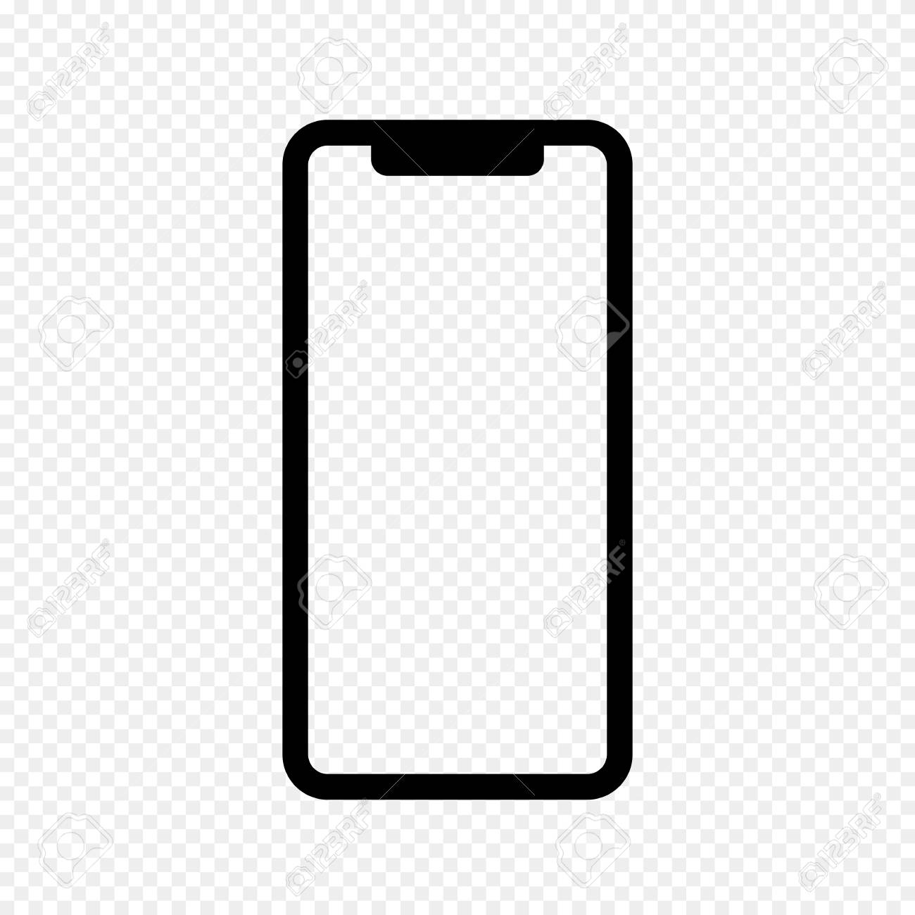 vector outline icon of phone isolated on transparent light