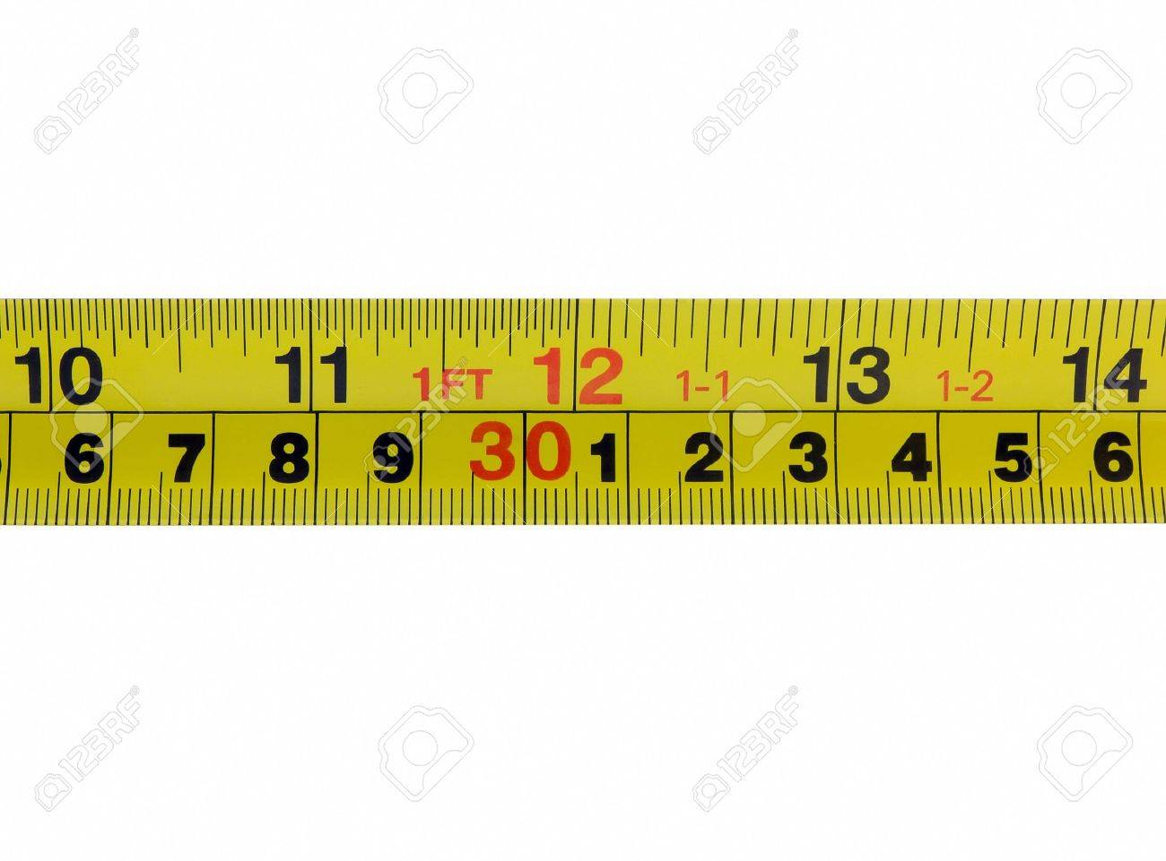 Photo of the one foot mark twelve inches on a tape measurer photo of the one foot mark twelve inches on a tape measurer isolated biocorpaavc Images