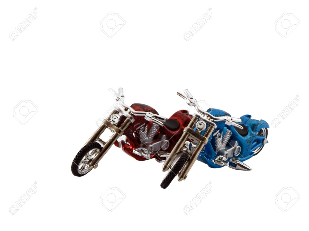 Photo of two model motorcycles isolated on white Stock Photo - 796027