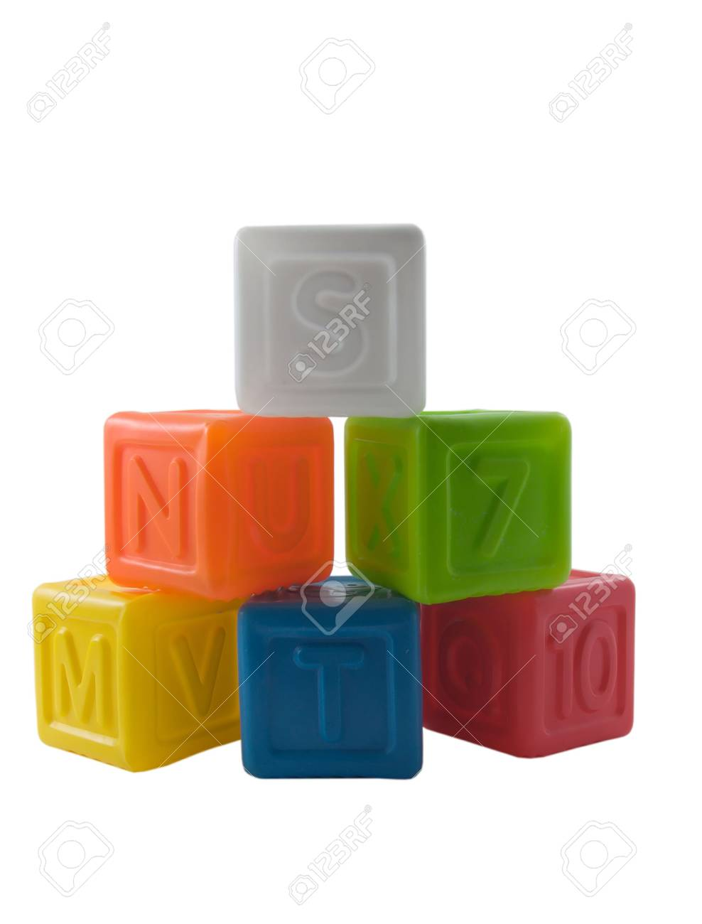 Photo of six different colored kids toy blocks isolated on white Stock Photo - 796049