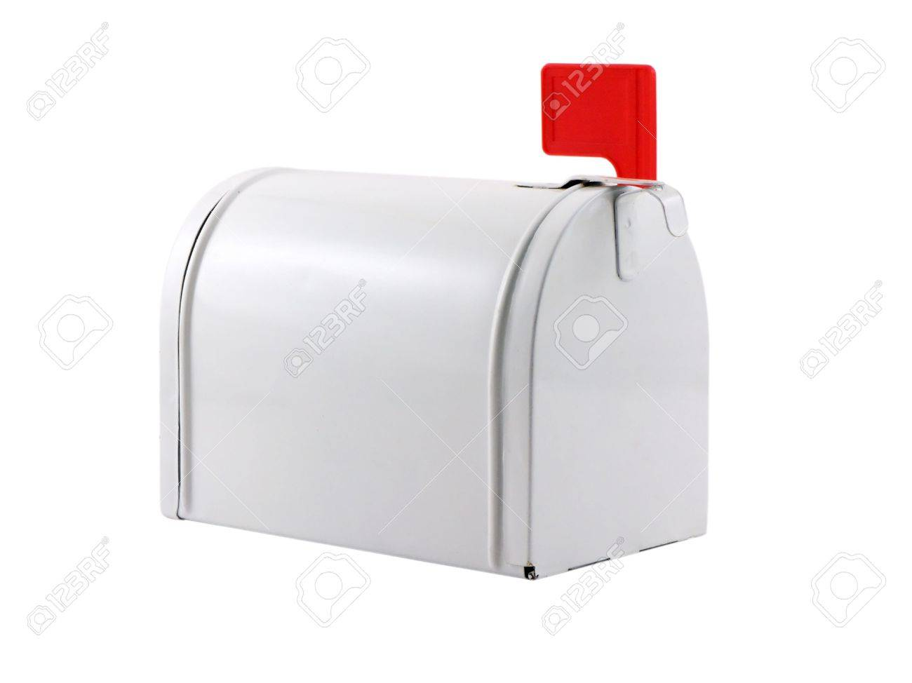 Photo of a mailbox with a red flag isolated on white Stock Photo - 861130