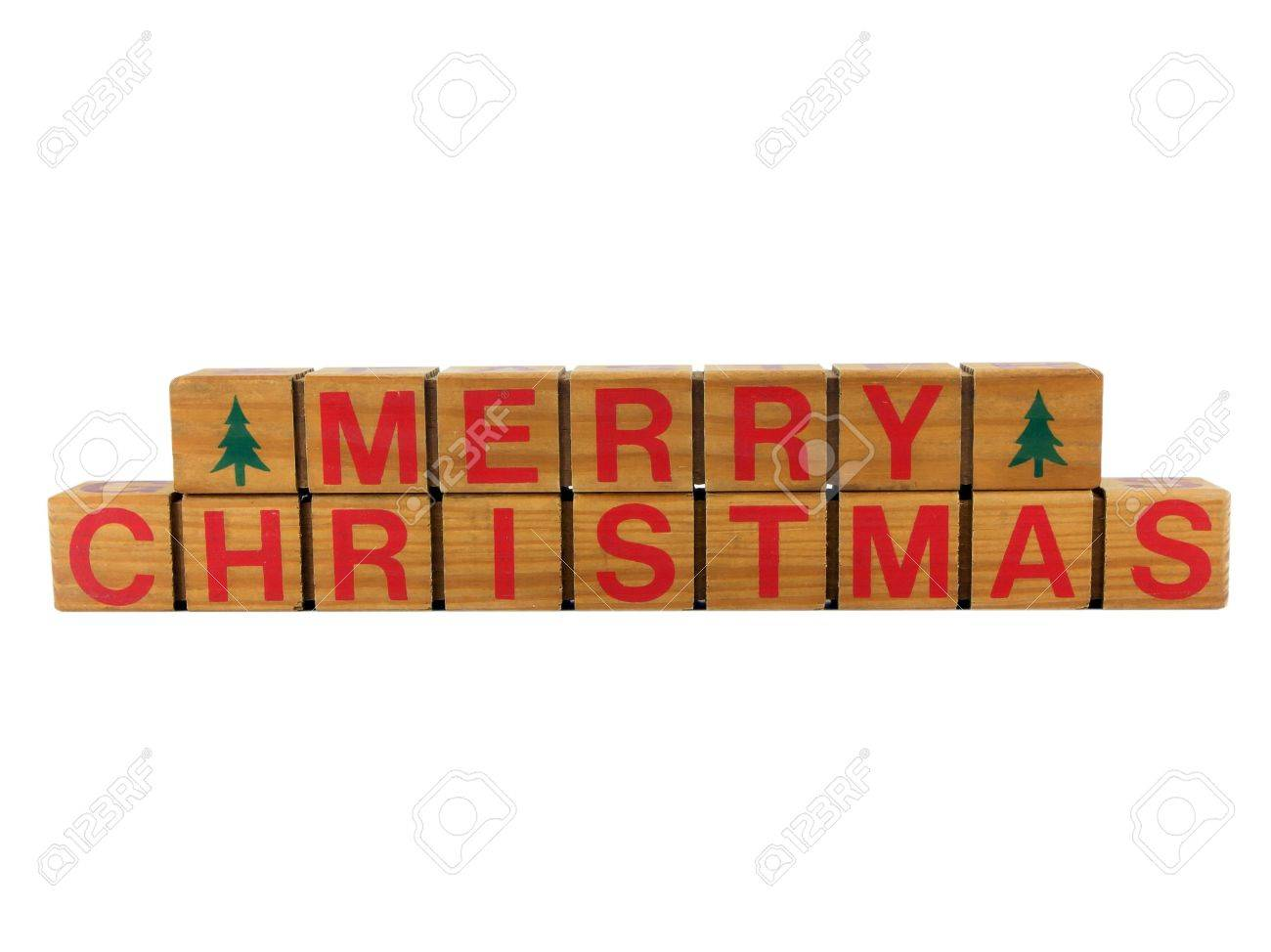 Photo Of The Words Merry Christmas Spelled Out On Wooden Blocks ...