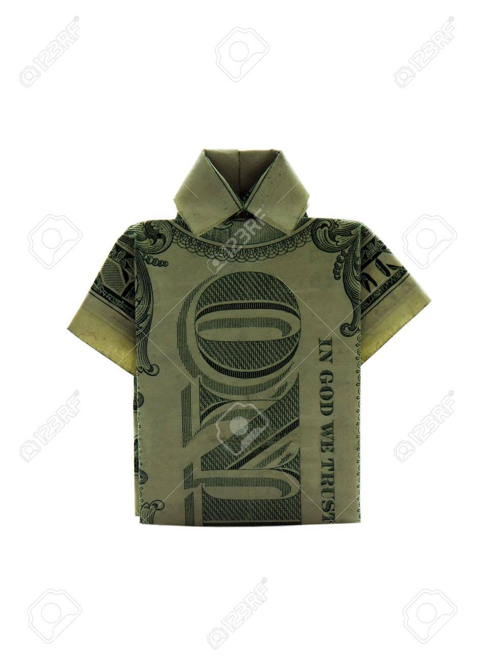 P O Of A T Shirt Made From A Folded Dollar Bill Stock P O 910448