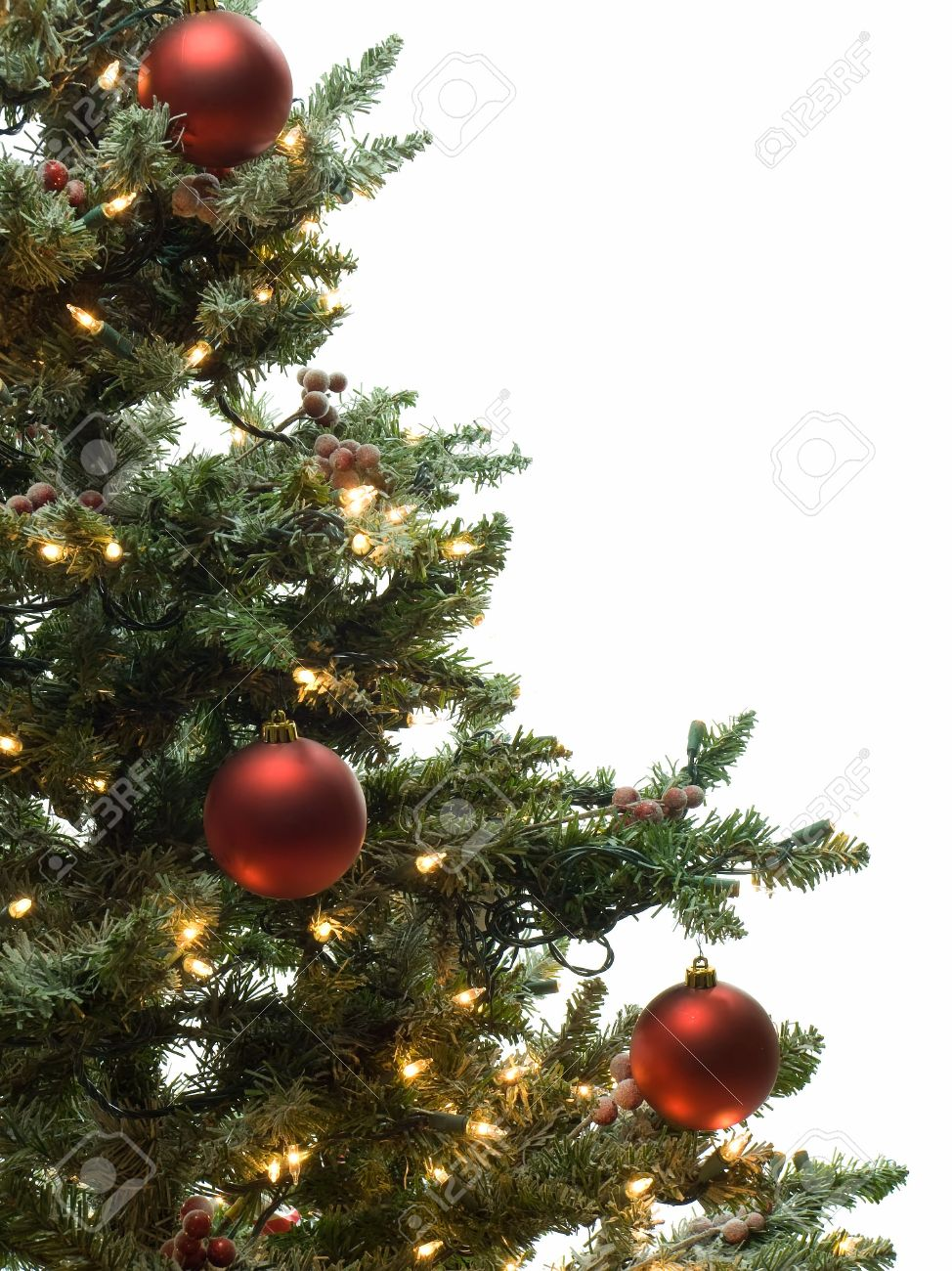 half of decorated christmas tree isolated on white stock photo 2191703 - Half Christmas Tree