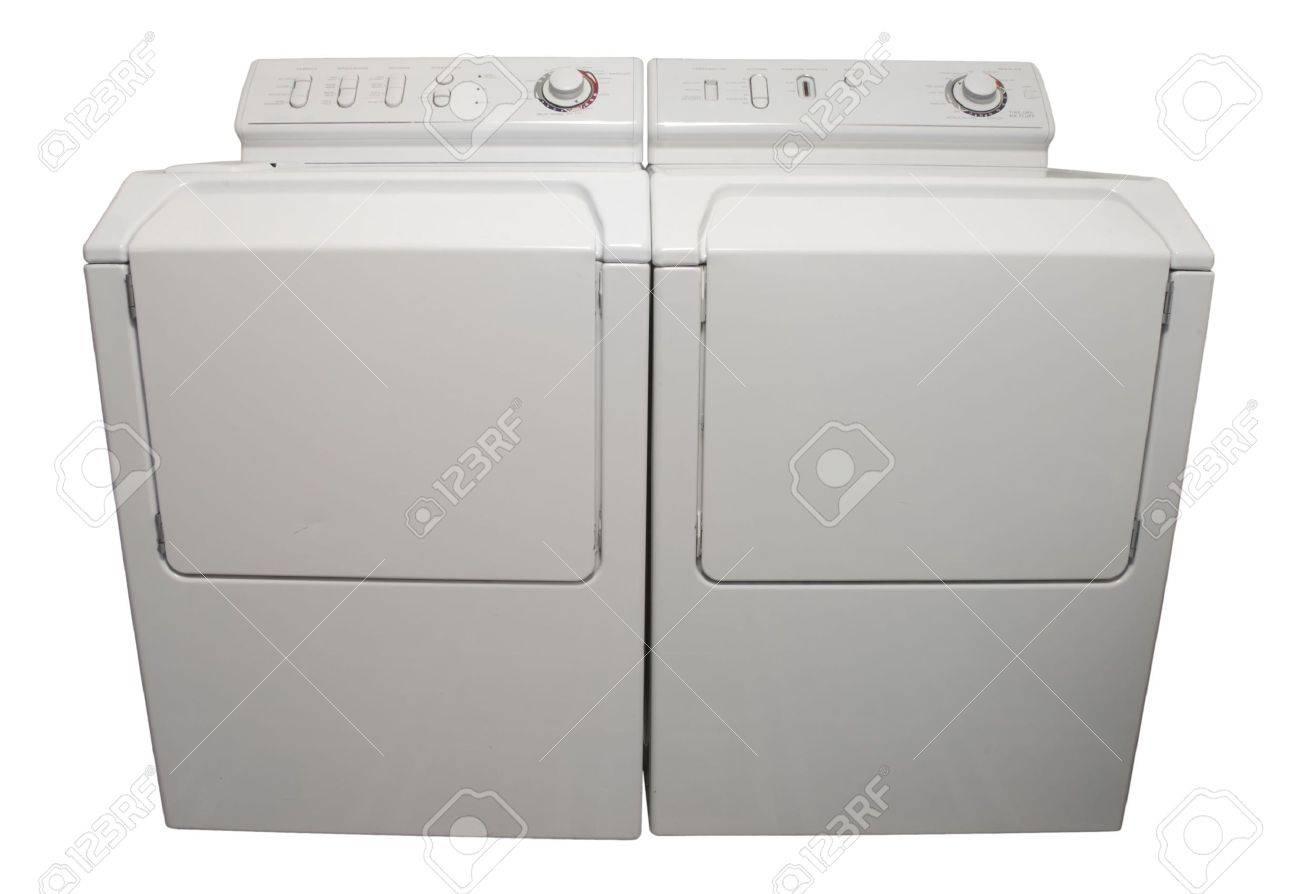 Waschmaschine und trockner geräte isoliert auf weißem lizenzfreie