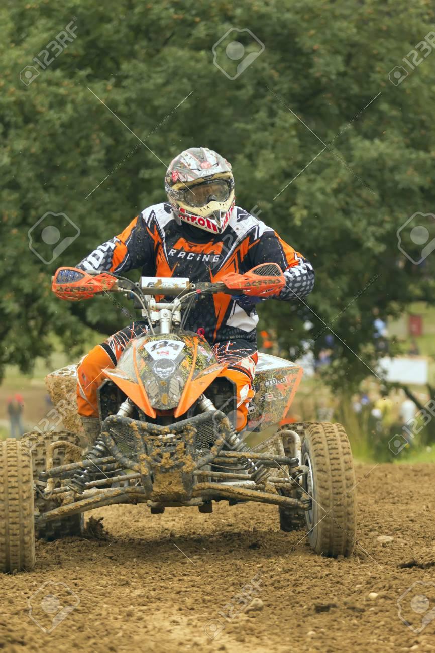 BELA U JEVICKA, CZECH REPUBLIC - JULY 23: Unidentified racer rides a quad motorbike in the