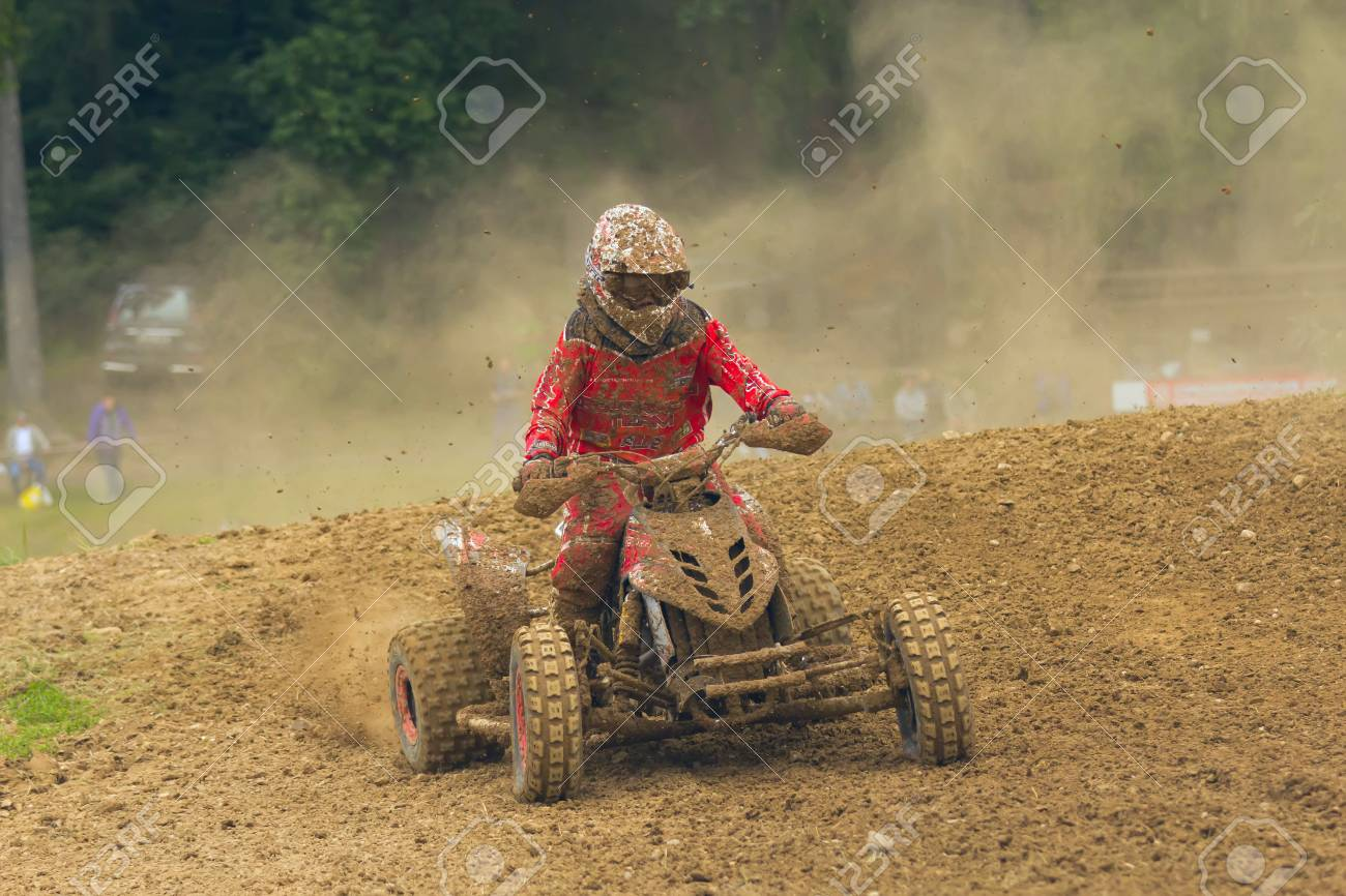 BELA U JEVICKA, CZECH REPUBLIC - JULY 23  Unidentified racer rides a quad motorbike in the  Cross racing Cup 2011  on July 23, 2011 near the town of Jevicko, Czech Republic   Stock Photo - 12790267