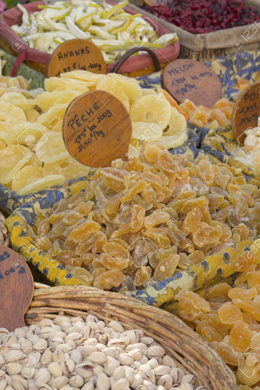 Nuts and candied fruit exposed at the farmers market Stock Photo - 14891801