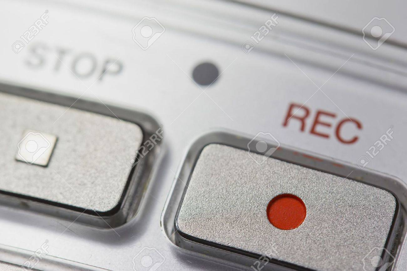 Macro view of a button on the Recording on a digital voice recorder - 15133305