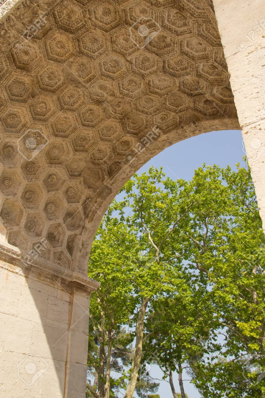 A detailed view at the decoration of the Triumphal arch  Glanum, Provence, France  Stock Photo - 16817026