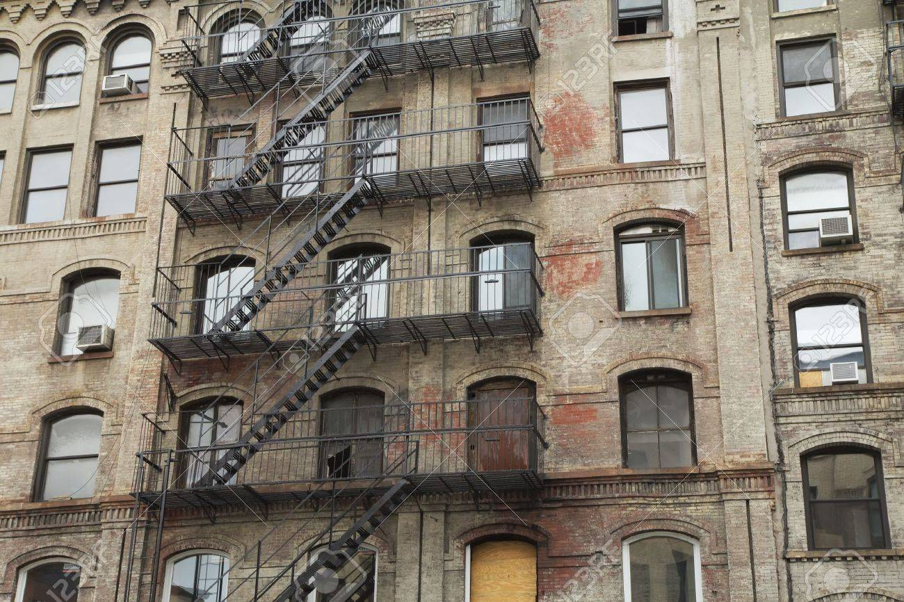 Old building with outdoor staircase New York City, USA Horizontally - 18960678