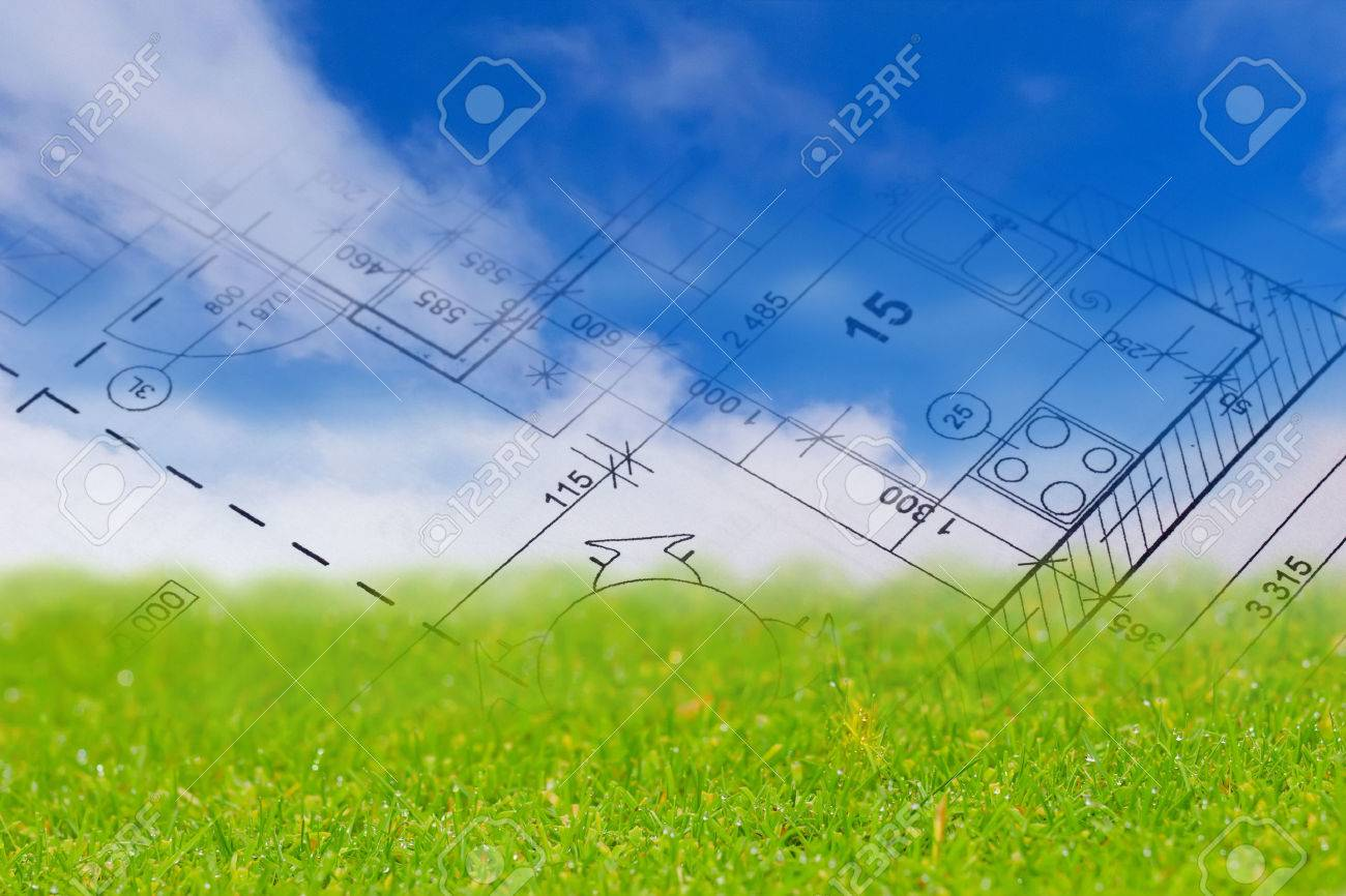 Background with blue sky green land and blueprint of a house background with blue sky green land and blueprint of a house interior stock photo malvernweather Choice Image