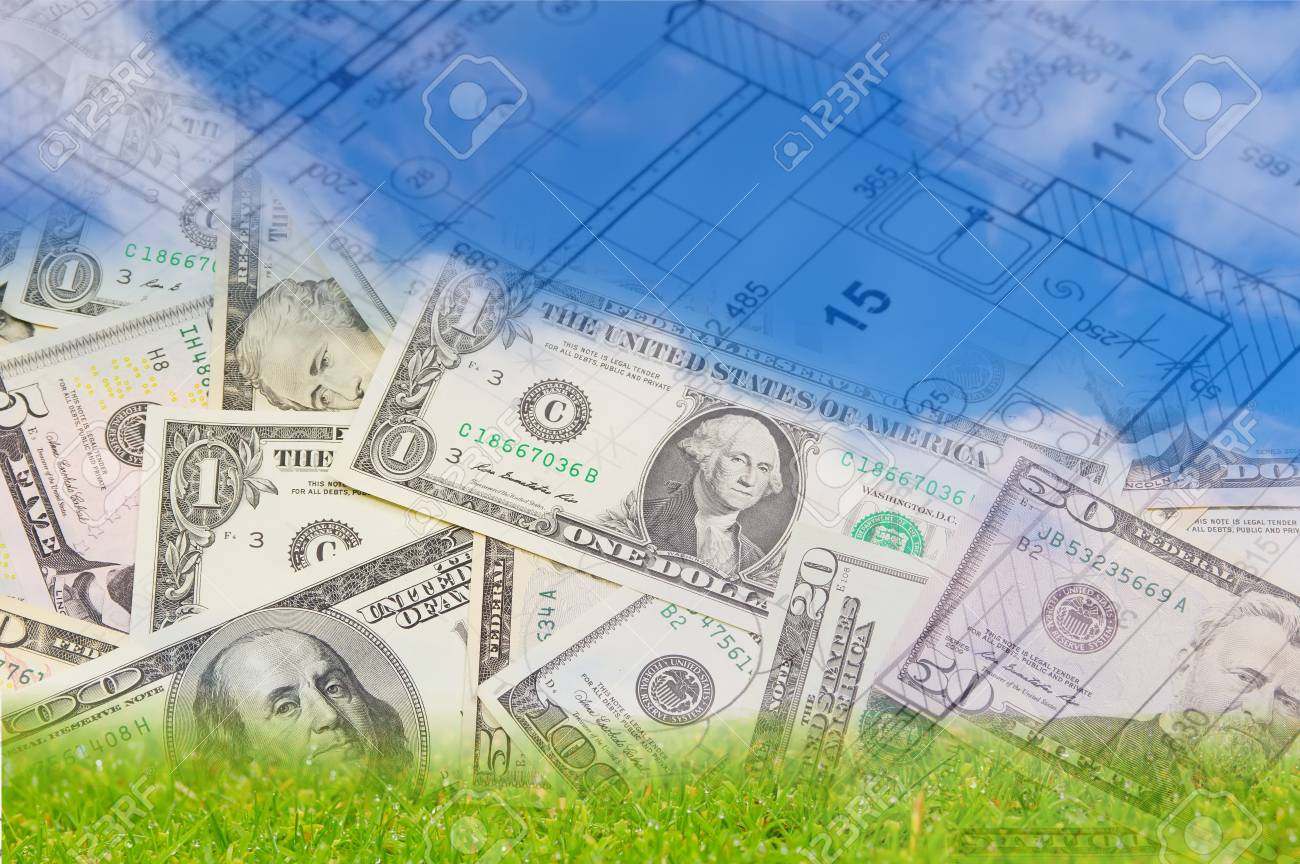 Background with blue sky green land blueprint of a house interior background with blue sky green land blueprint of a house interior and us dollars malvernweather Choice Image