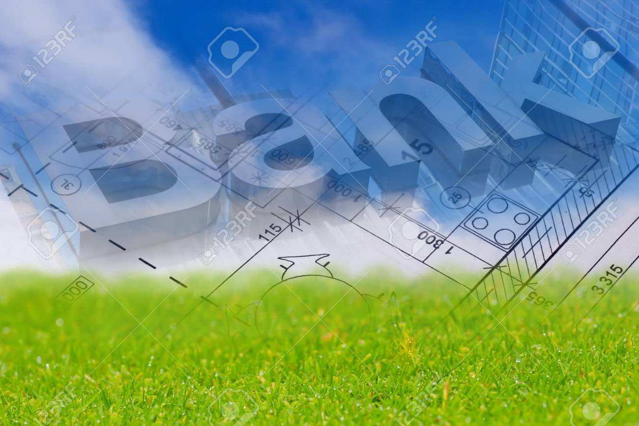 Background with blue sky green land blueprint of a house and background with blue sky green land blueprint of a house and bank sign stock malvernweather Images
