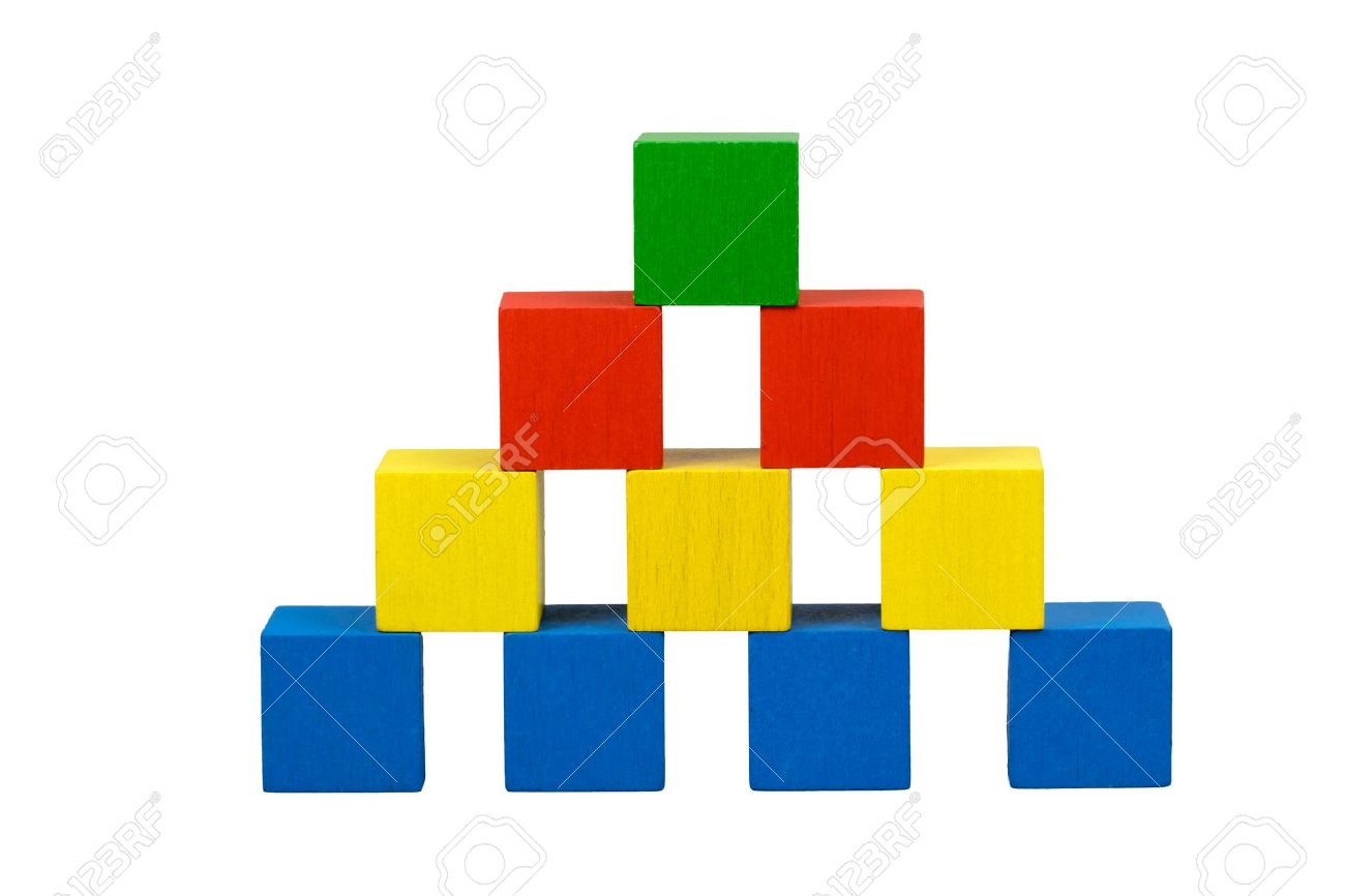 Pyramid built from wooden colorful cubes with gubs isolated on a white background. Bottom line consists of blue cubes over which there are three yellow cubes over which there are two red cubes on top is green cube. - 40015871