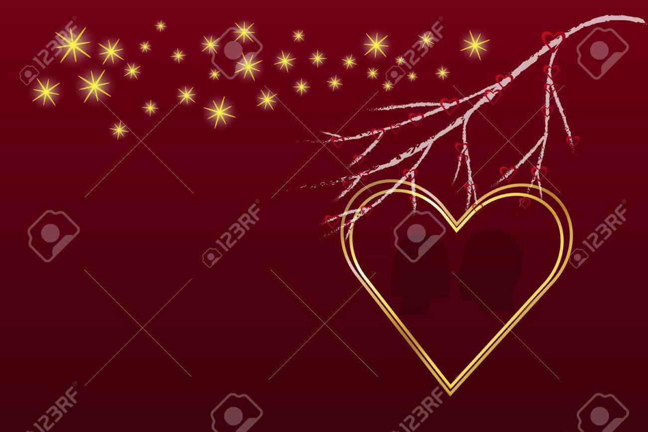 Gran Corazón Marco De Oro Está En El Lado Derecho Del Vector. Rama ...