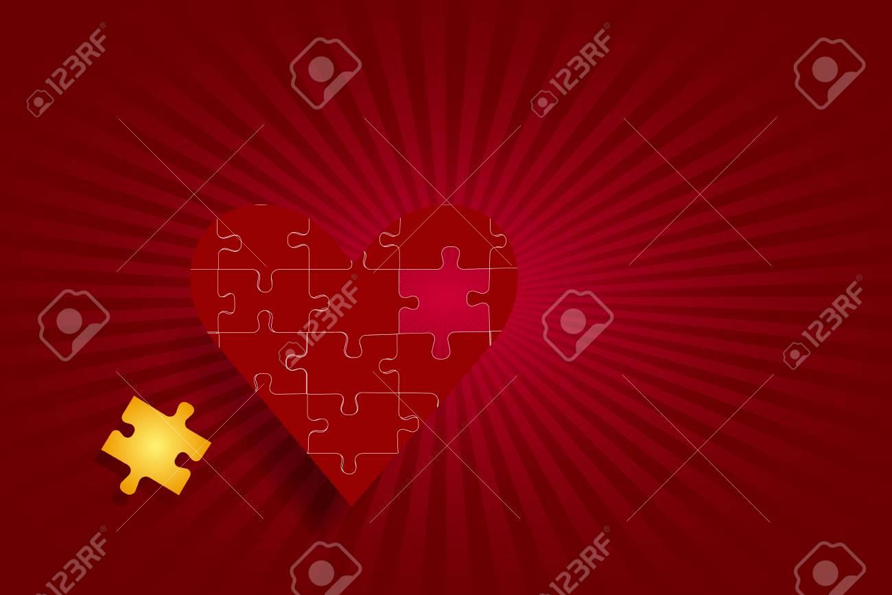 Vettoriale Un Cuore Rosso Puzzle è Sul Lato Sinistro Del Vettore