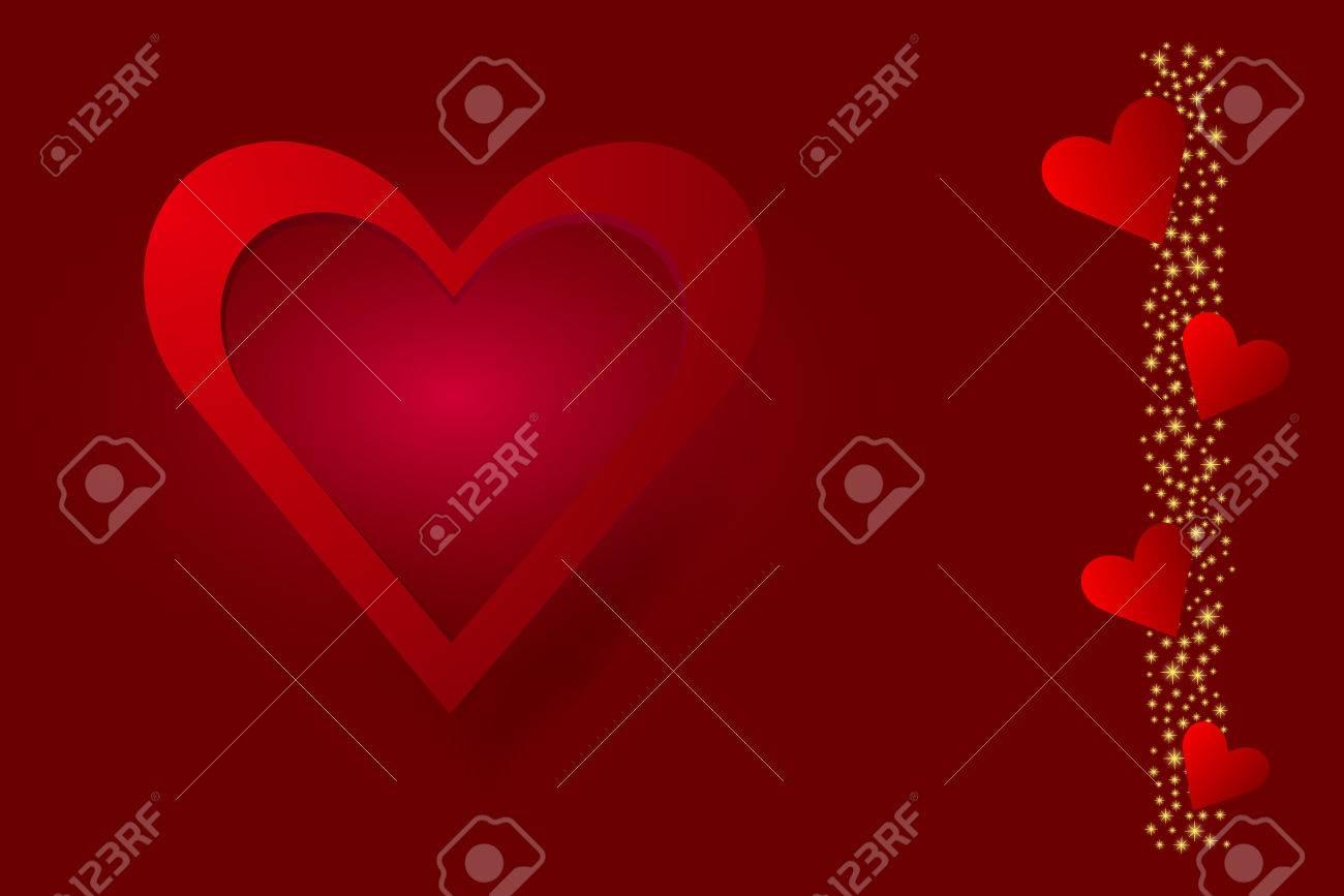 El Gran Marco Rojo Del Corazón Está En El Lado Izquierdo Del Vector ...