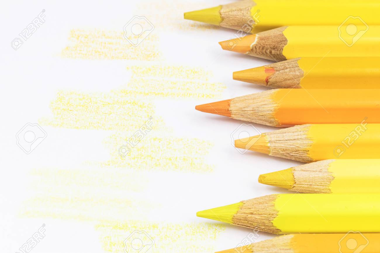 Crayons Of Different Shades Of Yellow Color Are Located On The Stock Photo Picture And Royalty Free Image Image 56975519