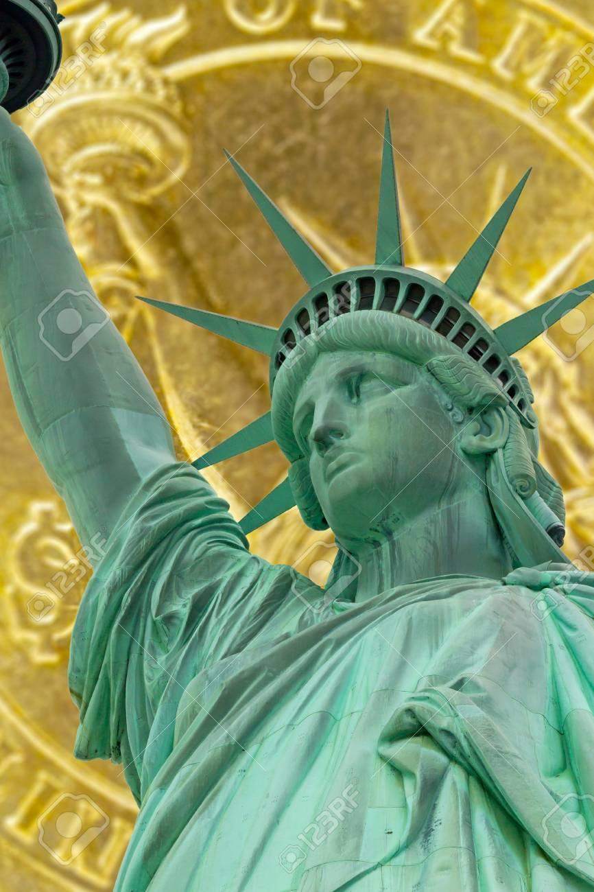 Closeup Blick Auf Die Freiheitsstatue Und Absichtlich Verwischt