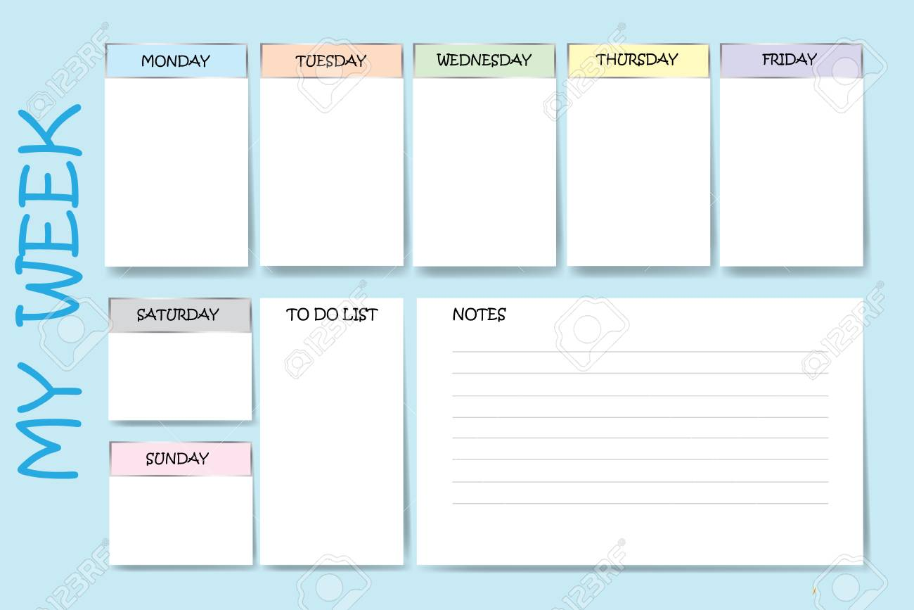image about Day by Day Planner identified as Blue coloration weekly planner with a chart for notes and white charts..