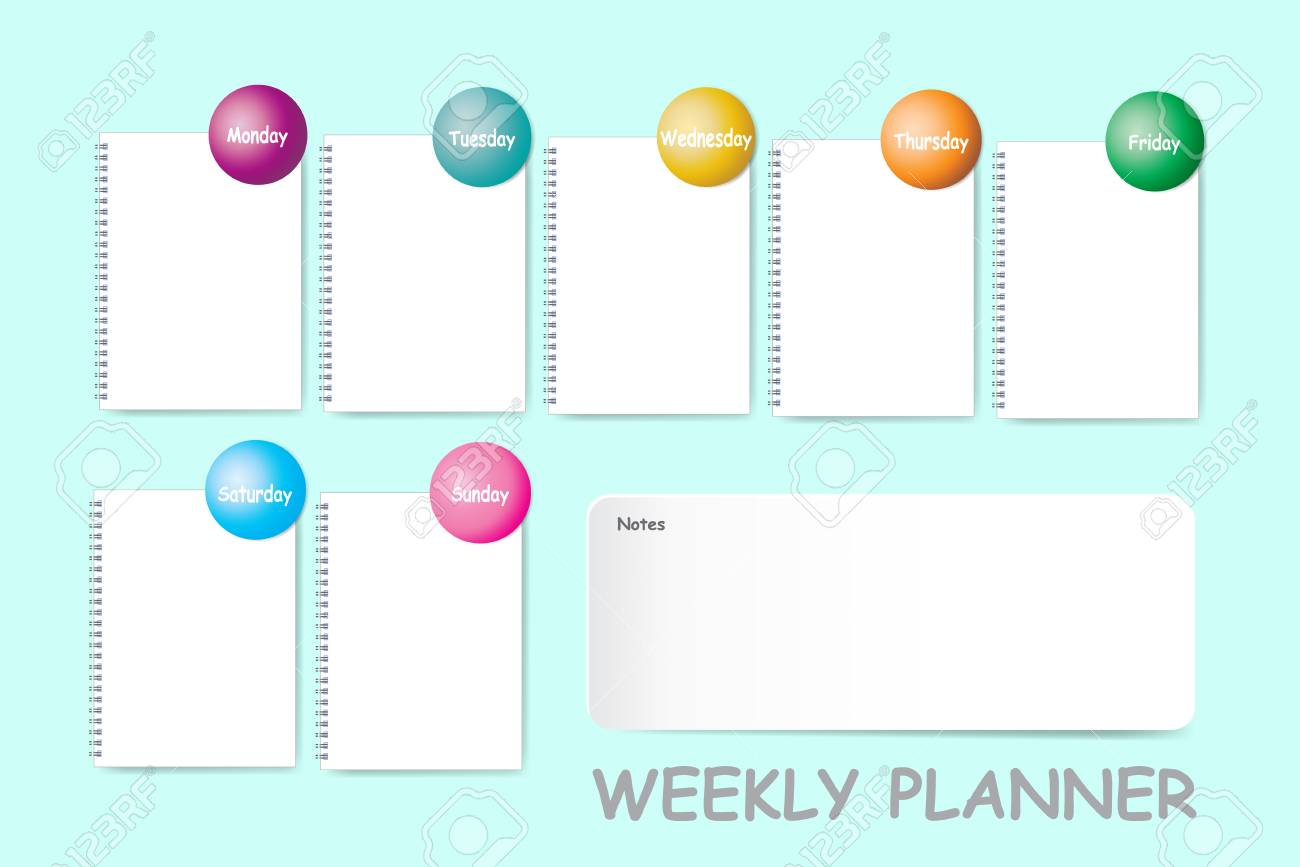 photograph about Day by Day Planner known as Weekly planner with a chart for notes and blank spiral laptop computer..
