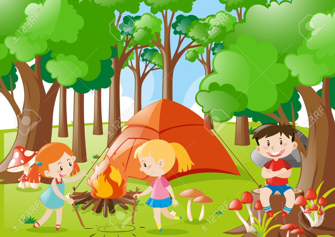 Kids Camping Out In The Woods Illustration Stock Vector