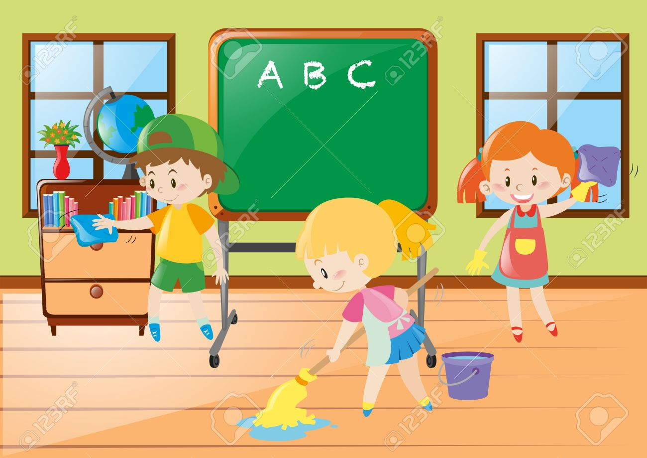 children help cleaning classroom illustration royalty free cliparts