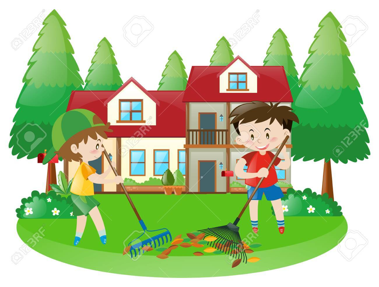 Scene With Two Boys Raking Dried Leaves Illustration Royalty Free