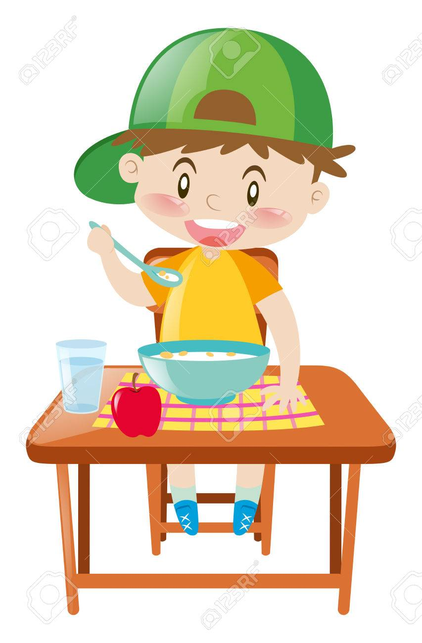 little boy at dining table eating breakfast illustration royalty