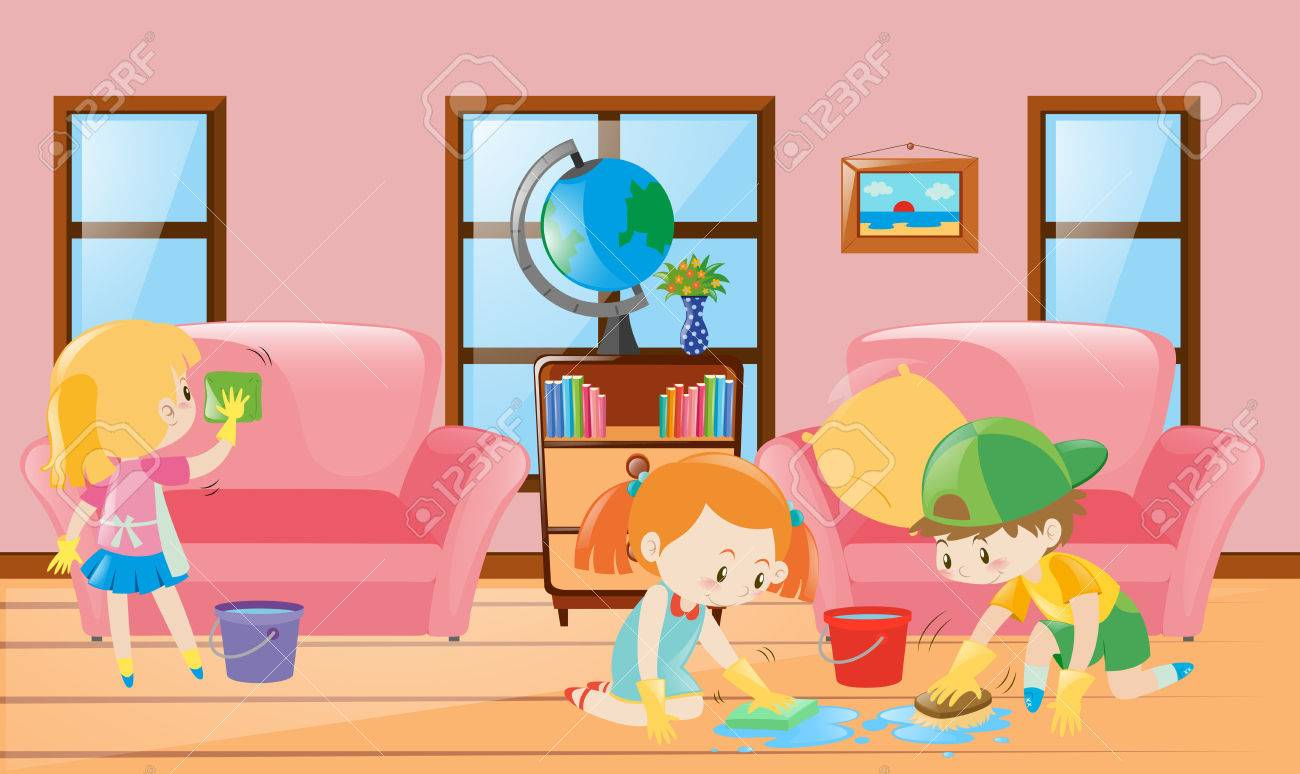 Three Children Cleaning Living Room Illustration Stock Vector